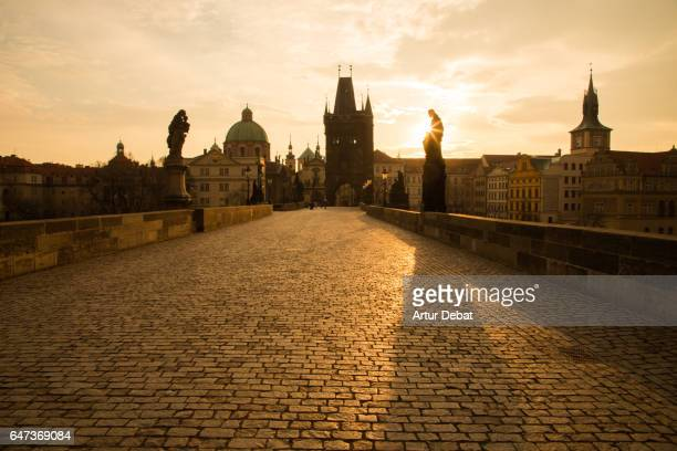 beautiful morning view of the city of prague at morning with stunning sky and sunlight taken from the charles bridge with the cityscape landmarks. - プラハ 旧市街広場 ストックフォトと画像