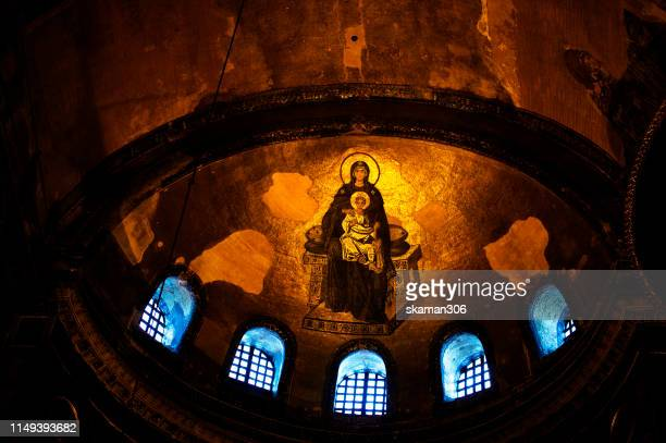 beautiful mosaic the mother and jesus christ at hagia sophia church  located near blue mosque istanbul turkey - hagia sophia stock pictures, royalty-free photos & images