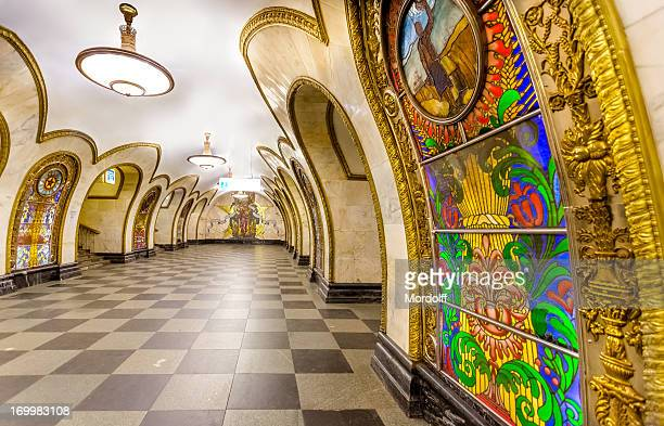 beautiful moscow metro station - moscow russia stock pictures, royalty-free photos & images
