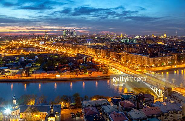 beautiful moscow skyline with night lights - moscow skyline stock pictures, royalty-free photos & images