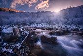 beautiful rapid river flowing evening light
