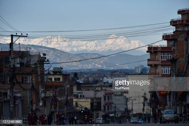 Beautiful mountains seen from Kathmandu during complete nationwide lockdown as concerns about the spread of Corona Virus in Kathmandu, Nepal on...