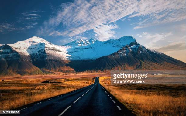 Beautiful mountains with dramatic sky along the ring road, route 1 in Iceland