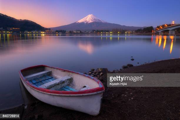 Beautiful Mt.Fuji with white boat in morning