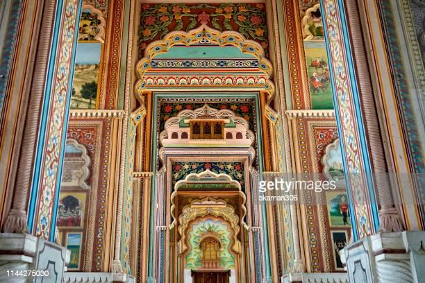 beautiful mughal architecture patrika gate near city jaipur rajasthan india - rajasthan stock pictures, royalty-free photos & images