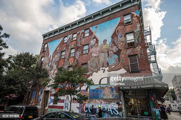 Beautiful mural painting in Spanish Harlem, New York City, USA