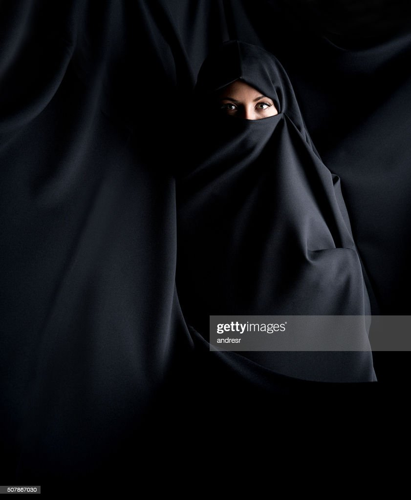 Beautiful Muslim woman wearing a burka : Stock Photo