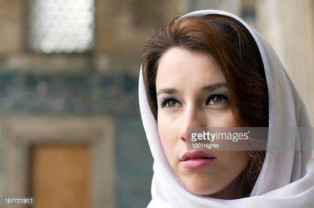 beautiful muslim woman wearing headscarf - iranian culture stock photos and pictures