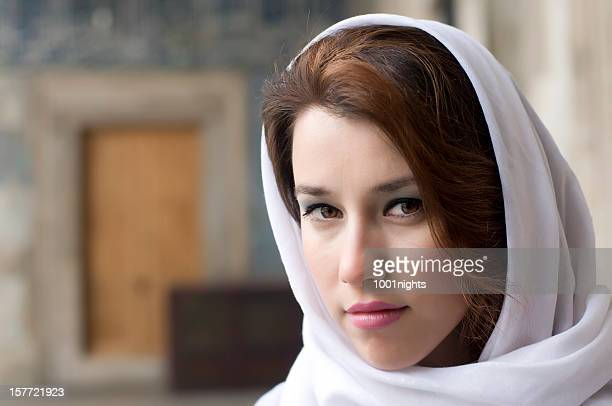 beautiful muslim woman wearing headscarf - iranian woman stock photos and pictures