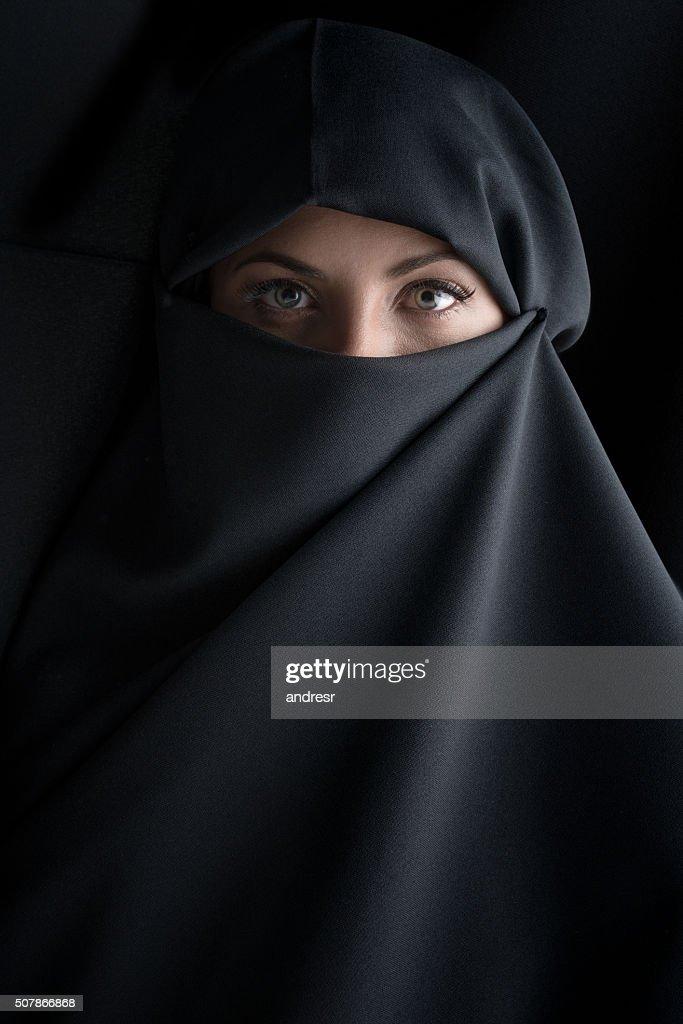 Beautiful Muslim woman wearing the hijab : Stock Photo