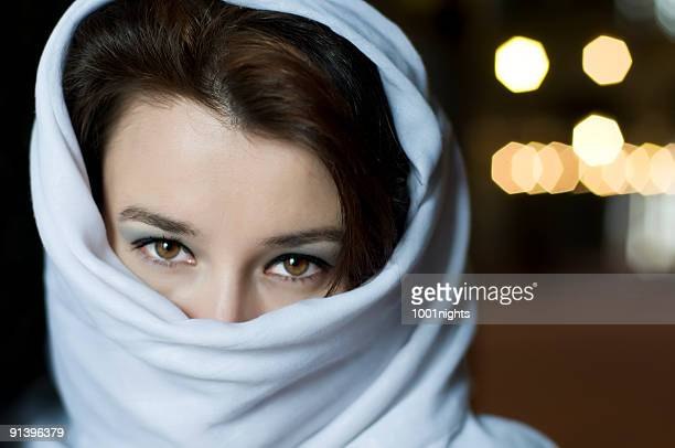 beautiful muslim woman with tuareg - iranian culture stock photos and pictures