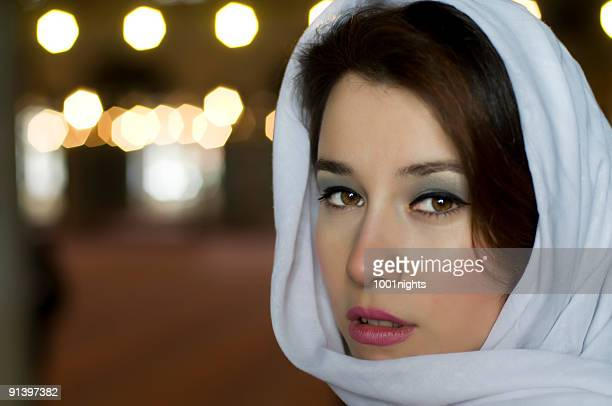 beautiful muslim woman with turban - iranian woman stock photos and pictures