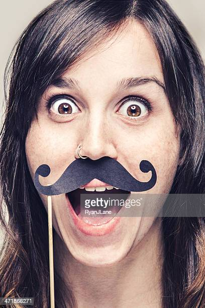 Beautiful Mustache Woman with Big Smile