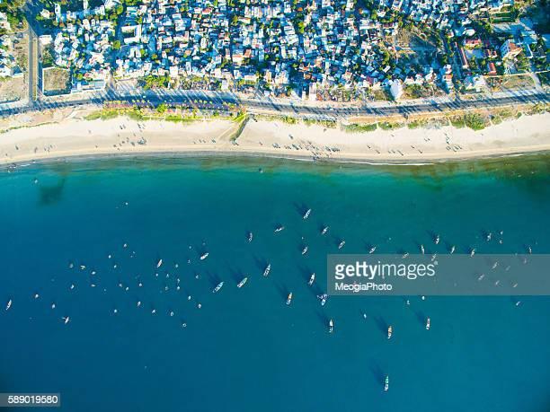 Beautiful My Khe beach from drone in Da Nang, Vietnam