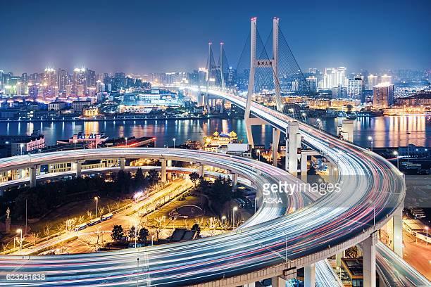 beautiful nanpu bridge at dusk ,crosses huangpu river ,shanghai