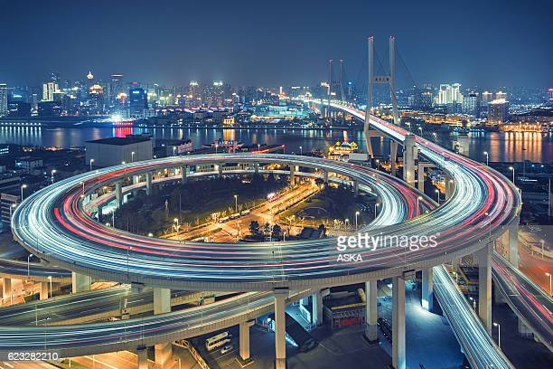 beautiful nanpu bridge at dusk ,crosses huangpu river ,shanghai
