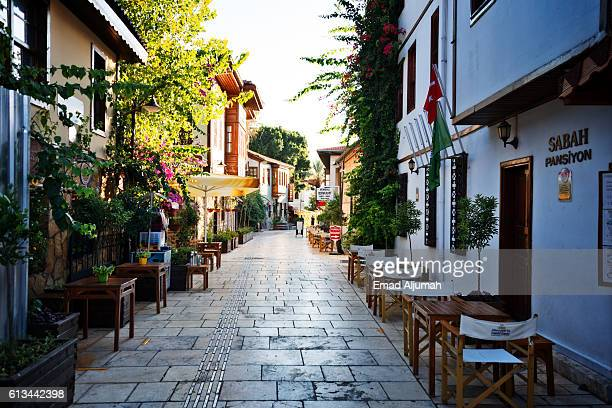 Beautiful narrow streets of old town of Antalya (Kaleici), Turkey