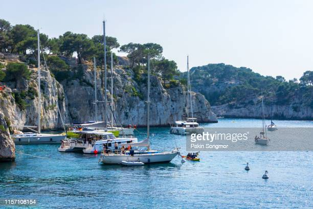 beautiful nature of calanques on the azure coast of france. - cassis stock pictures, royalty-free photos & images