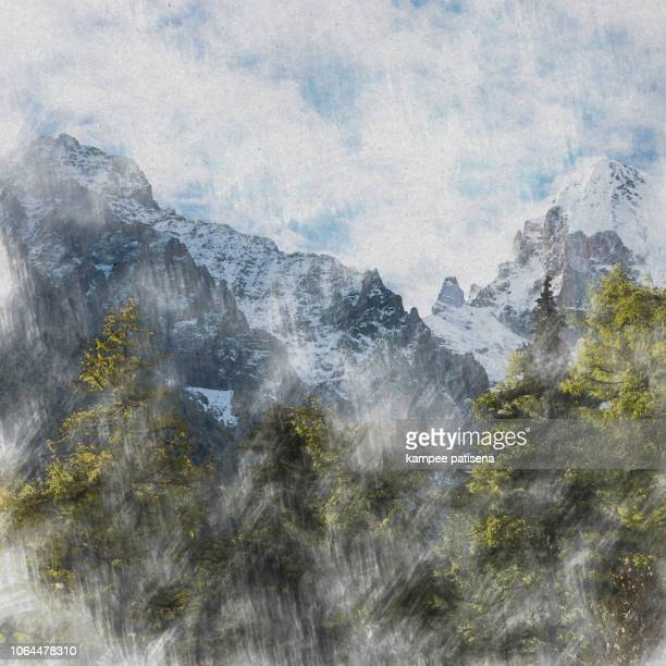 beautiful nature of colorful autumn in yading. digital art watercolor painting abstract by photographer. - drawing art product stock pictures, royalty-free photos & images