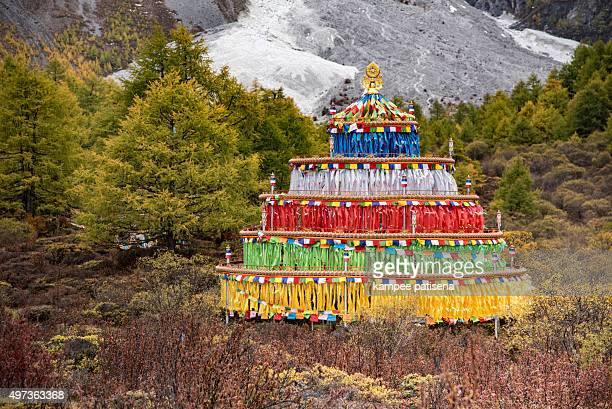 Beautiful nature of Colorful autumn in Yading national level reserve, Daocheng, Sichuan Province, China