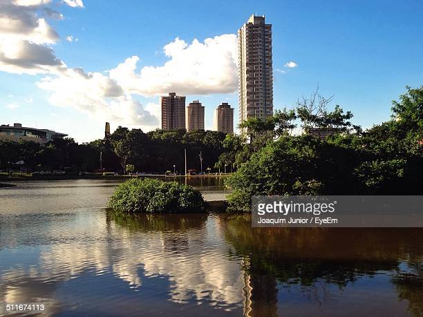 beautiful nature scenery with tall tower building - goiania stock pictures, royalty-free photos & images