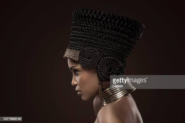 beautiful nefertiti woman - headdress stock pictures, royalty-free photos & images