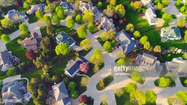 beautiful neighborhoods, homes, aerial view - residential district stock pictures, royalty-free photos & images