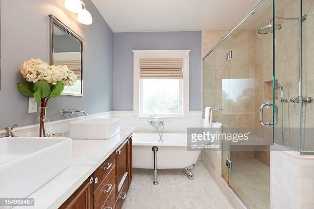 beautiful new bathroom - bathroom stock photos and pictures