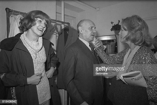 Beautiful New York New York Actress Lauren Bacall visits British actor Sir Ralph Richardson backstage following the Broadway opening of Harold...