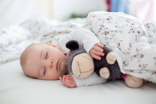 Beautiful newborn baby boy, sleeping with little toy at home in bed - gettyimageskorea