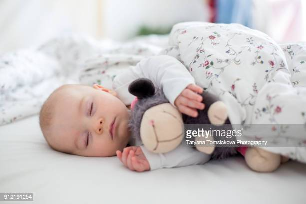 Beautiful newborn baby boy, sleeping with little toy at home in bed