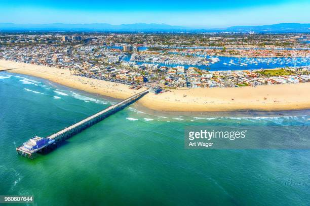 beautiful newport beach from above - newport ca stock pictures, royalty-free photos & images