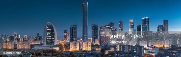 beautiful night scene of beijing skyline - beijing province stock photos and pictures