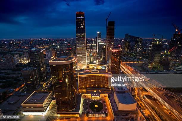 Schöne Nachtansicht der skyline von Peking