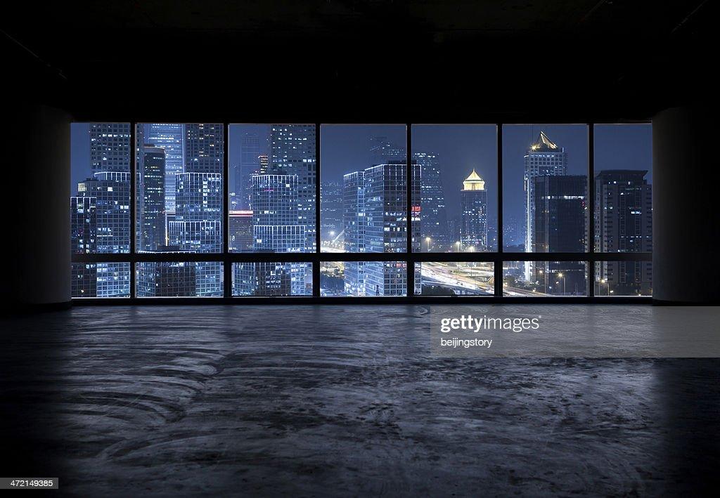 Beautiful Night Scene Outside The Windows Stock Photo