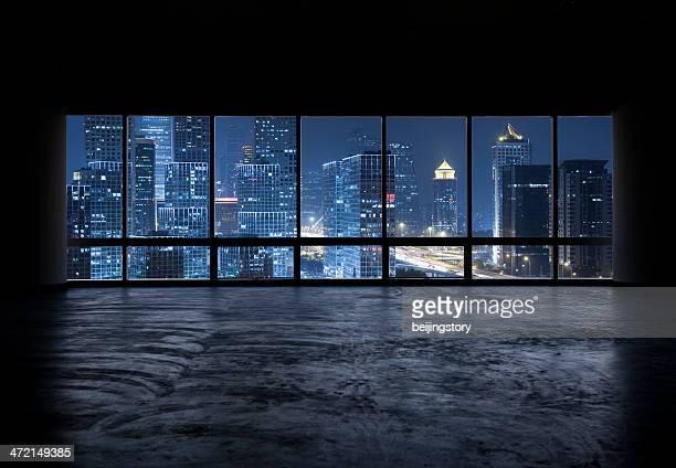 beautiful night scene outside the windows