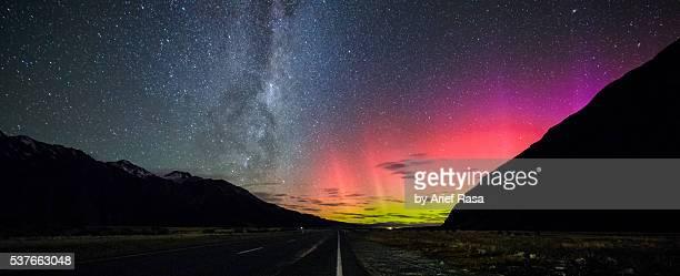 Beautiful Night Sky With Milky Way And Aurora, Panorama View
