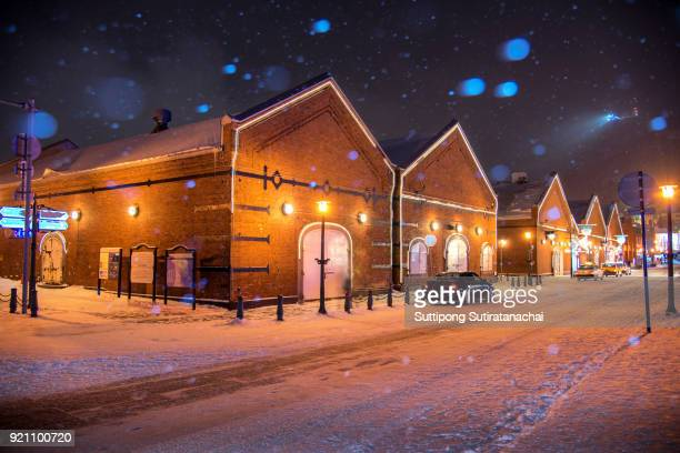 beautiful night with snow fall at hakodate, japan cityscape at the historic red brick warehouses and mt. hakodate. - sapporo japan stock pictures, royalty-free photos & images