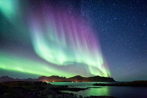 Beautiful Northern Lights aurora borealis borealisgreen Norway nature - gettyimageskorea