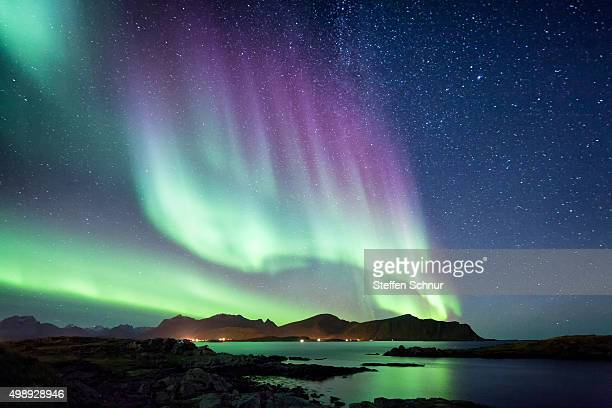 beautiful northern lights aurora borealis borealisgreen norway nature - aurora borealis stock pictures, royalty-free photos & images