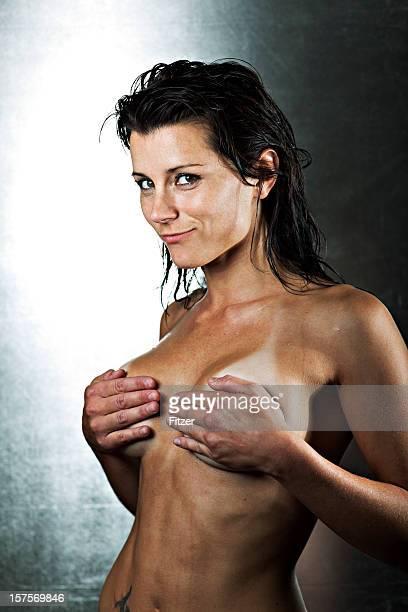 beautiful nude woman, portrait - sproet stockfoto's en -beelden