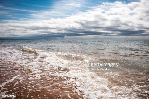 Beautiful ocean seascape of waves and textured clouds