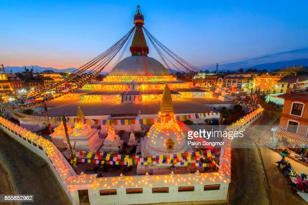 Beautiful of boudhanath stupa in twilight time at Kathmandu Nepal