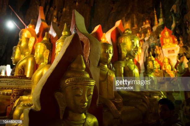 beautiful of one thousand buddha statue in big cave at pindaya myanmar - buddha's birthday stock pictures, royalty-free photos & images