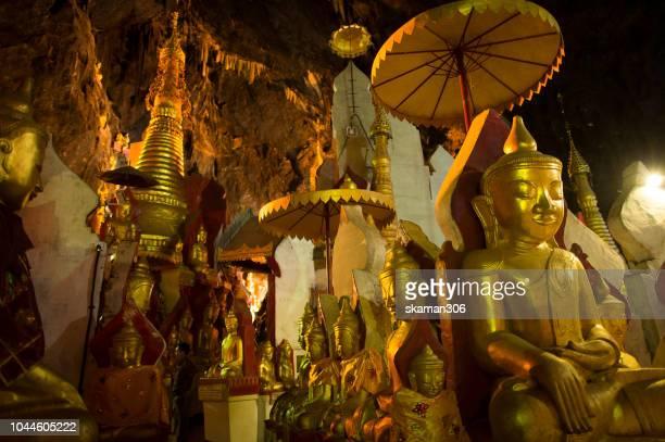 beautiful of one thousand buddha statue in big cave at pindaya myanmar - 仏陀の目 ストックフォトと画像