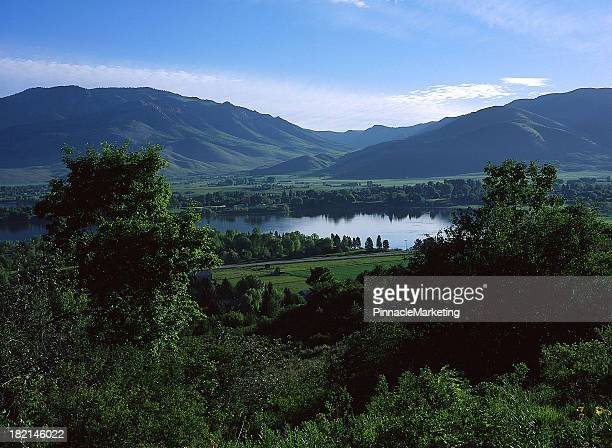 beautiful ogden valley with pineview reservoir, utah - reservoir stock pictures, royalty-free photos & images
