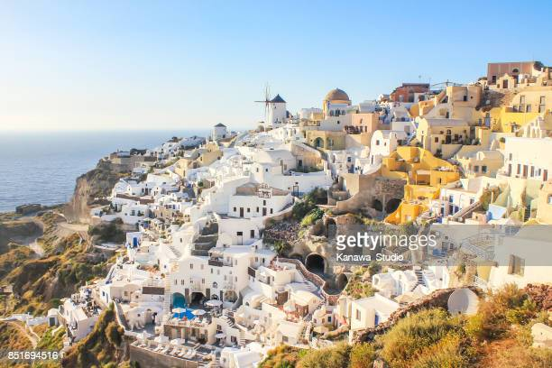 beautiful oia in summer - greek islands stock pictures, royalty-free photos & images