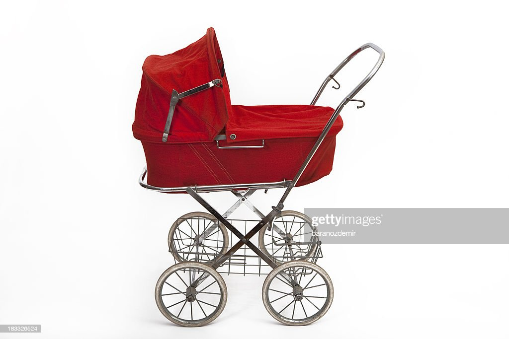Beautiful old baby stroller : Stock Photo