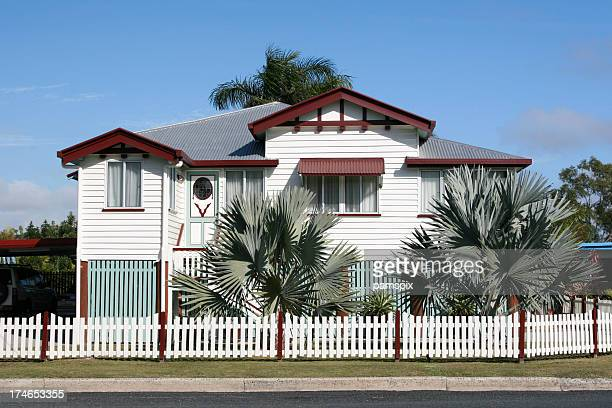 beautiful old queenslander home - queensland stock pictures, royalty-free photos & images