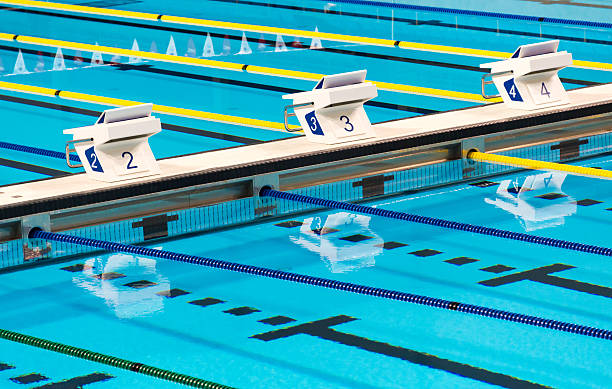 beautiful olympic sport competition swimming pool lanes in a